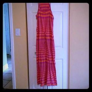 Spaghetti strap dress orange and pink
